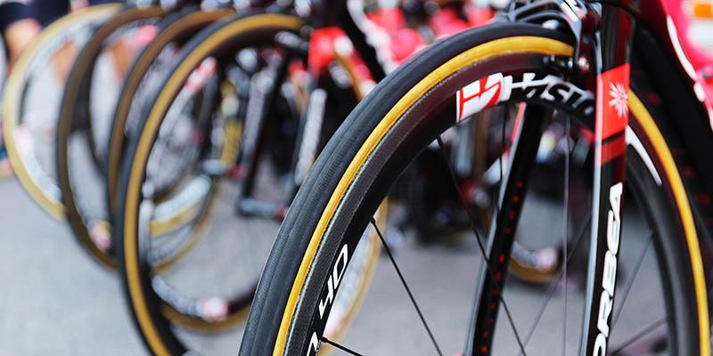 Photo of a thin road bike tyre