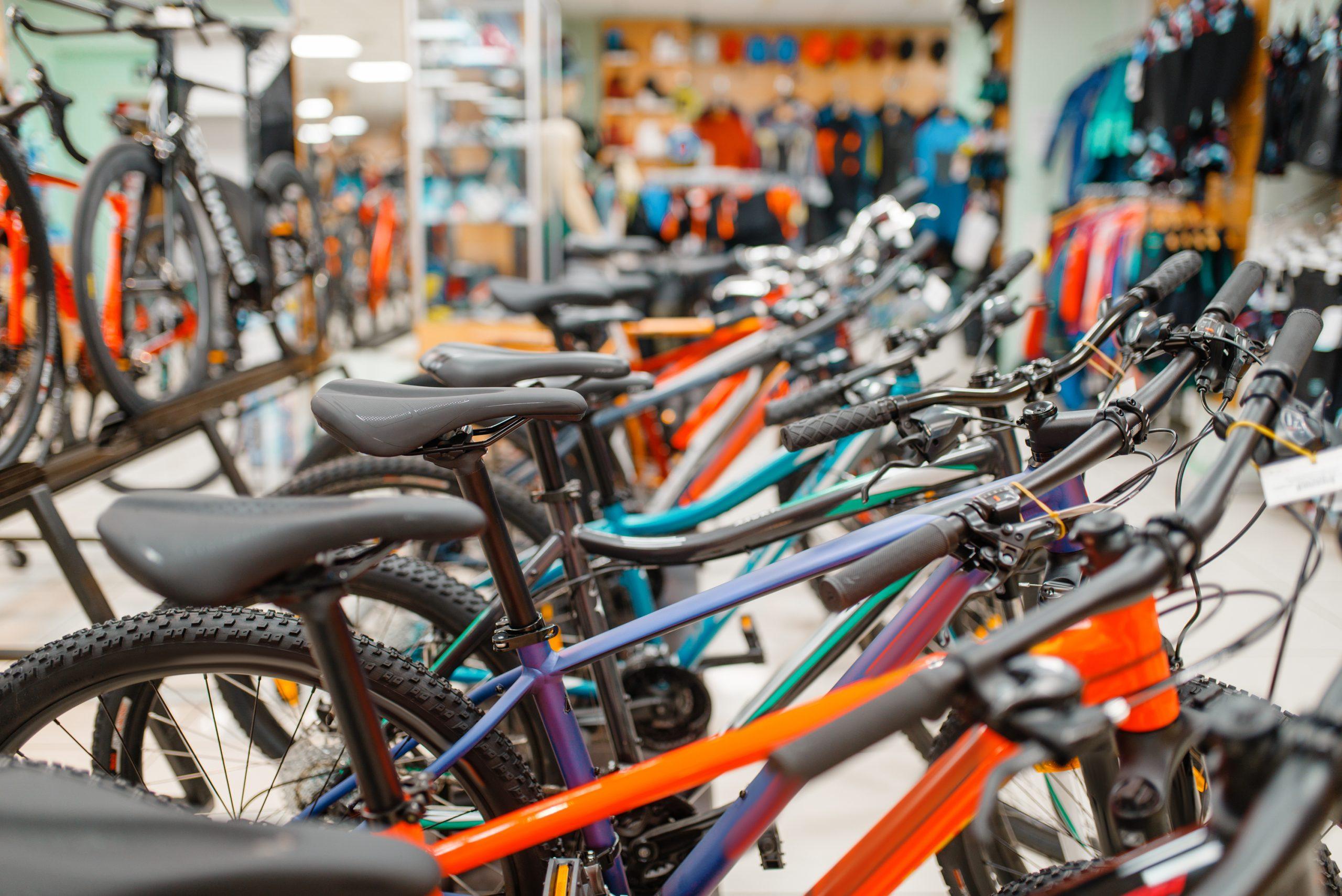 Row of bikes in bike shop